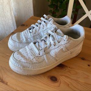 Nike low white crocodile Air Force 1s, EU 40